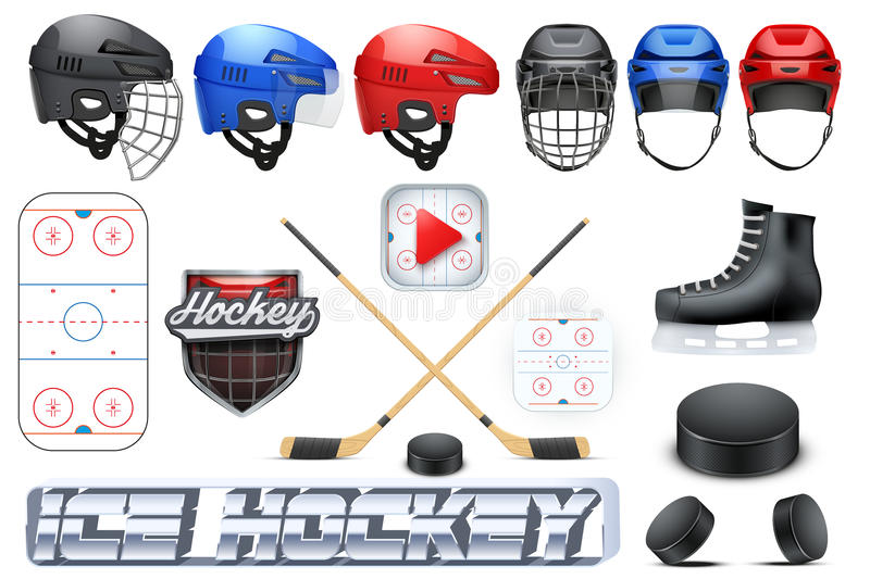 Big set of ice hockey sport stock illustration
