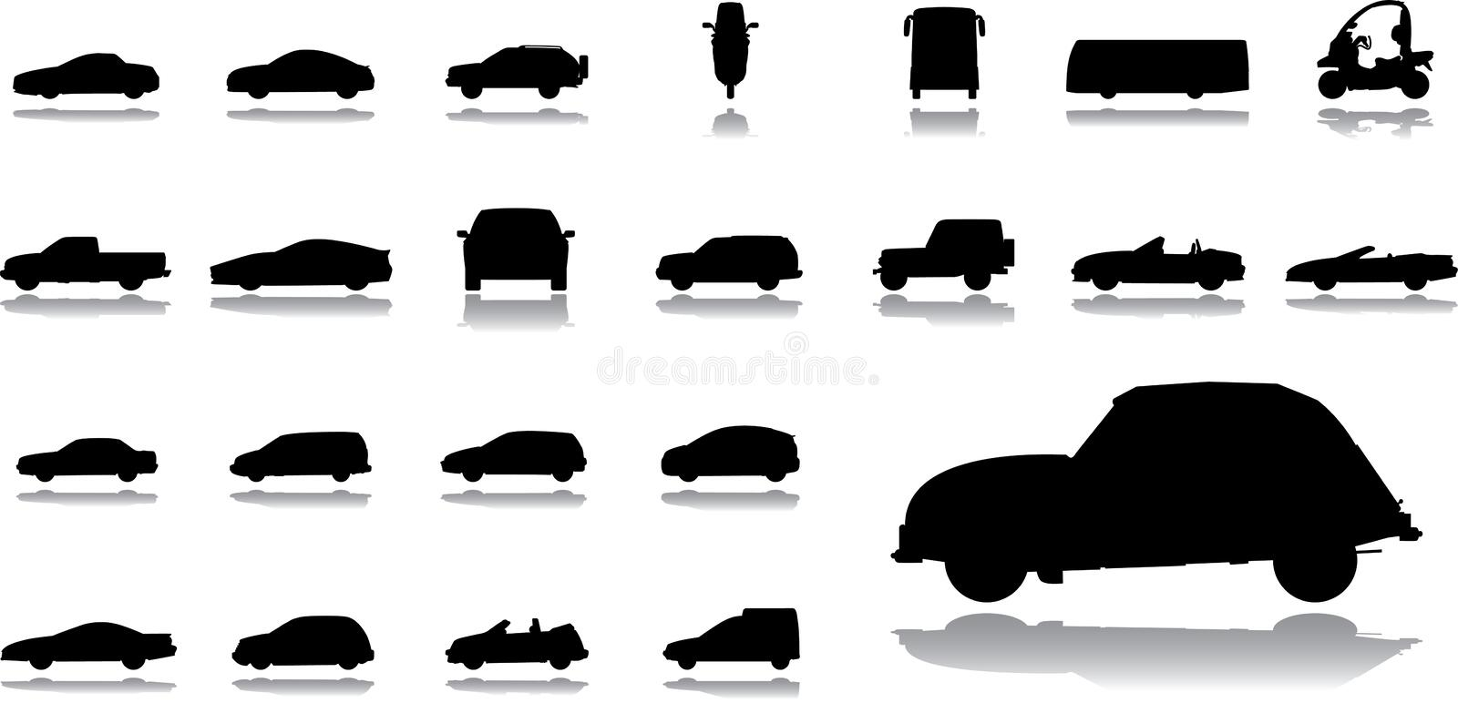 Big set icons - 14. Cars vector illustration