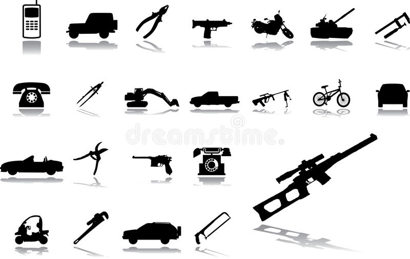 Download Big Set Icons - 15. Machines And Technologies Stock Vector - Illustration of transport, iron: 11498443