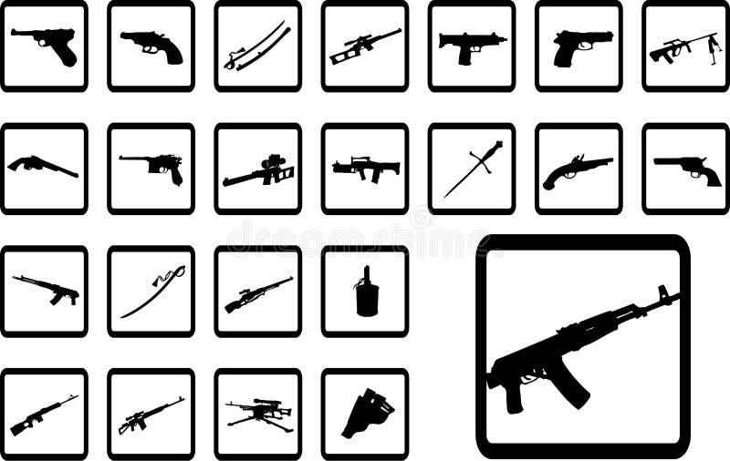 Big Set Icons - 9B. Weapon Stock Photo