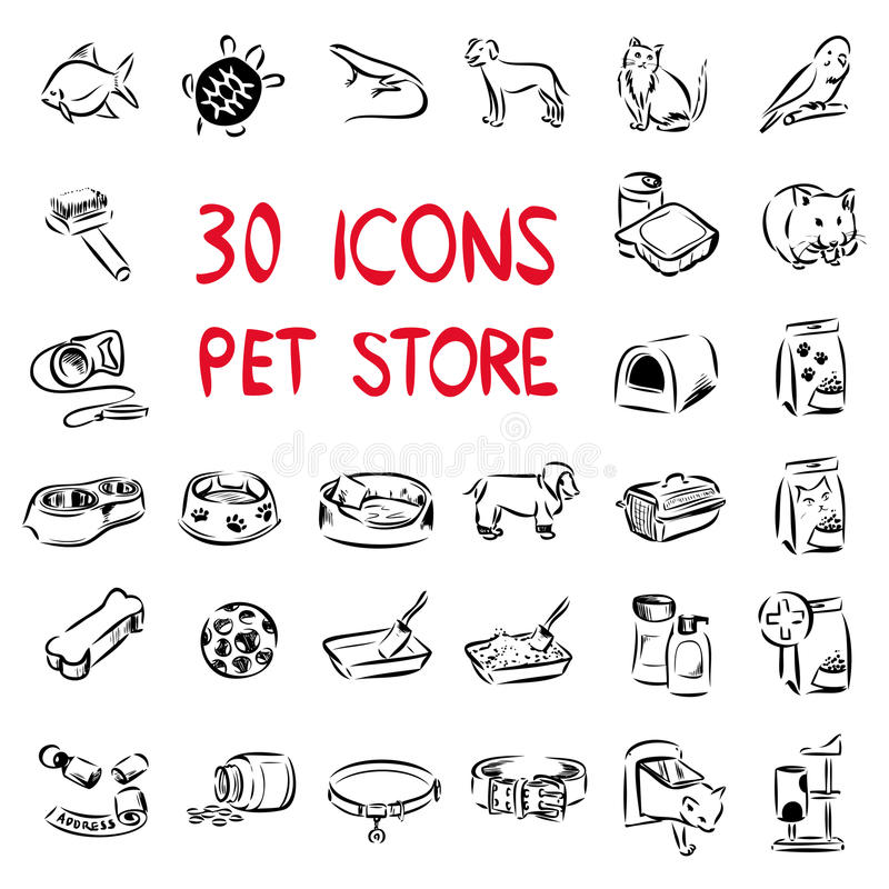 Big set icons for pet store stock illustration