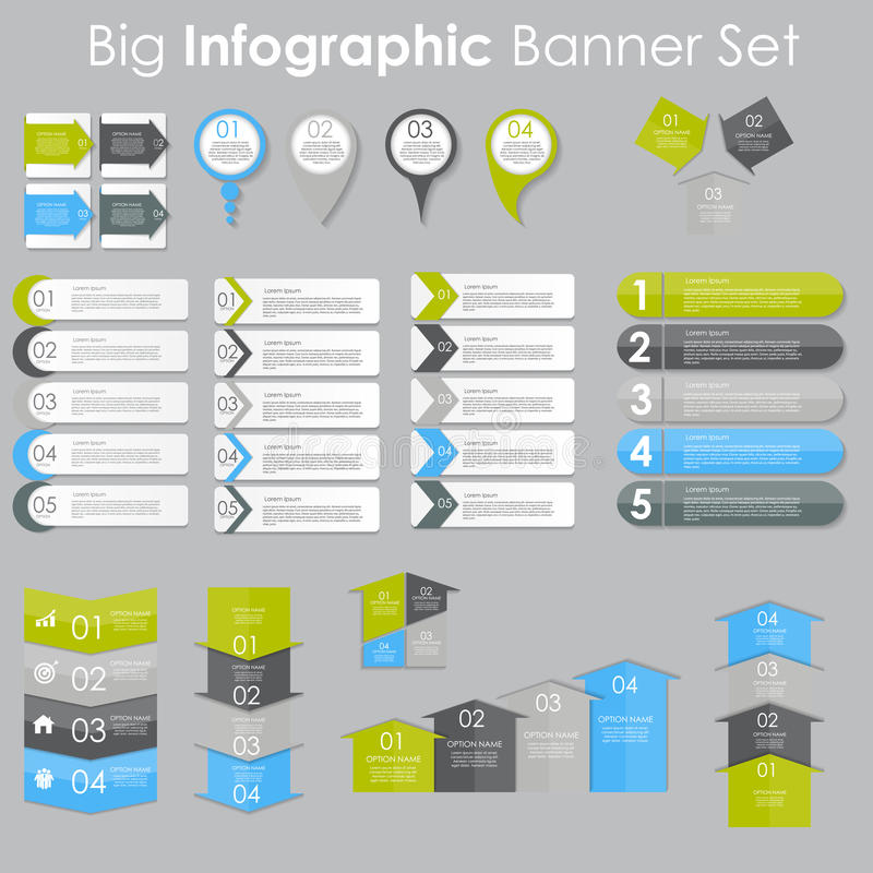 Big Set of Infographic Banner Templates for Your Business Vector stock illustration