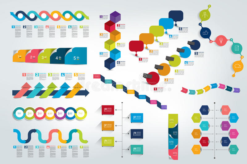 Big set of Infographic timeline report, template, chart, scheme. Vector royalty free illustration