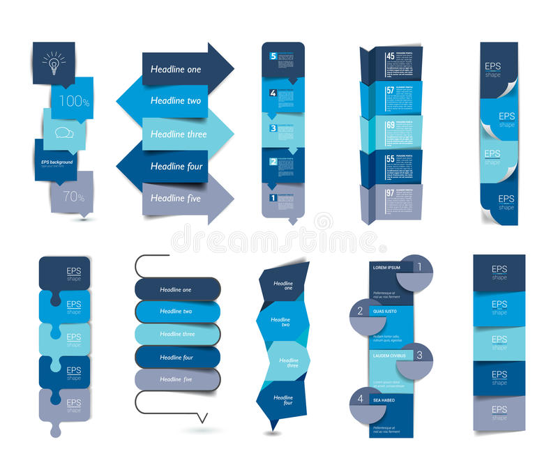 Big set of infographics step by step vertical tables, elements, schedules, banners, charts. Vector illustrations royalty free illustration