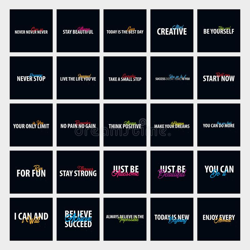 Big set of Inspiring motivation quotes. Vector typography posters design concept. vector illustration