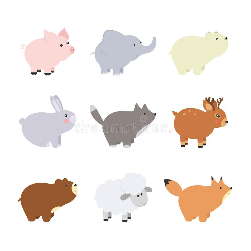 Big set isolated animals. Vector collection funny animals. Cute animals forest, farm, domestic, polar in cartoon style. Pig, eleph vector illustration