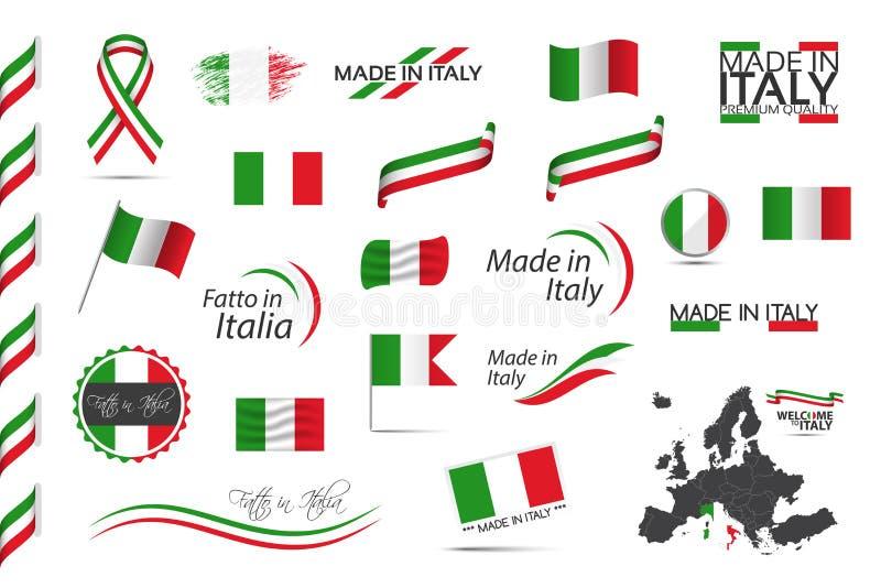 Big set of Italian ribbons, symbols, icons and flags vector illustration