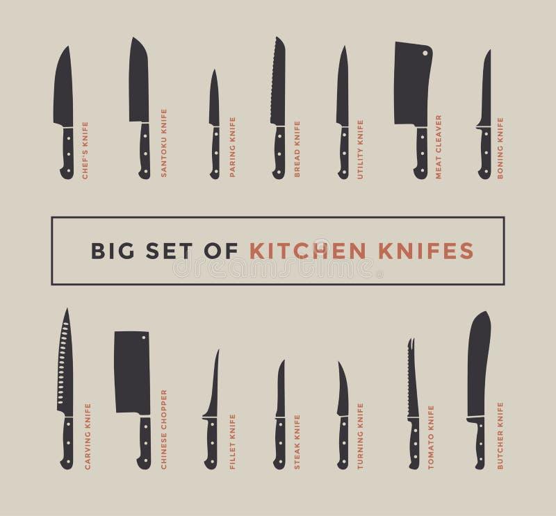 Kitchen Knife Set Names: Big Set Of Kitchen Knives With Names. Stock Vector