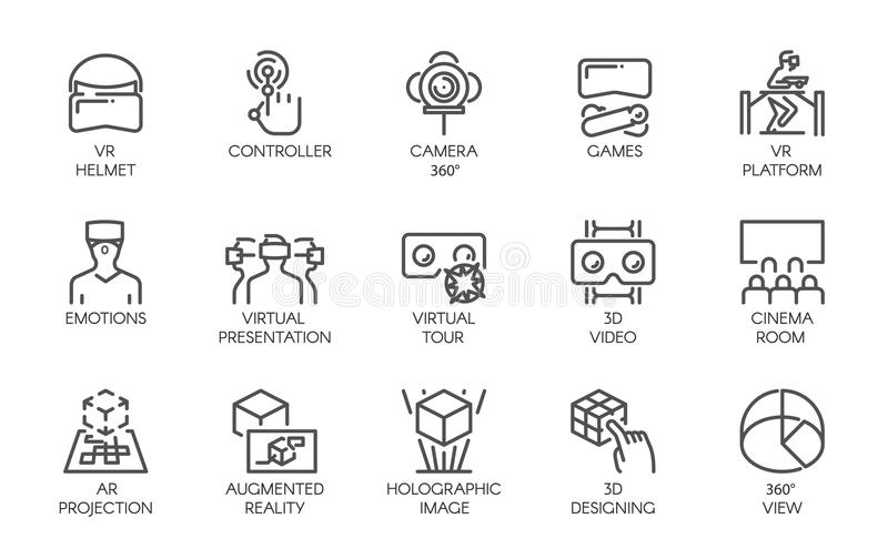 Big set of line icons of augmented reality digital AR technology future. 15 vector labels isolated on a white background stock illustration