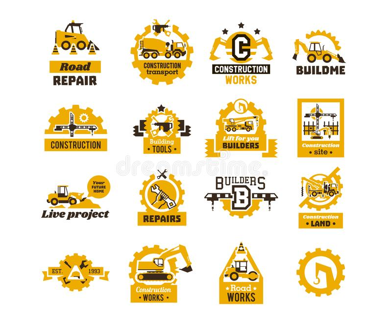 Big set of logos on the theme of construction. Building machinery, transport, professional equipment and tools. Asphalt. Processing works. Excavator, tractor royalty free illustration