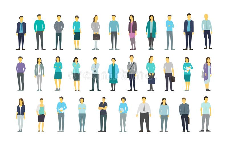 Big set a lot of people bundle in line crowd many persons. Stock vector illustration stock illustration