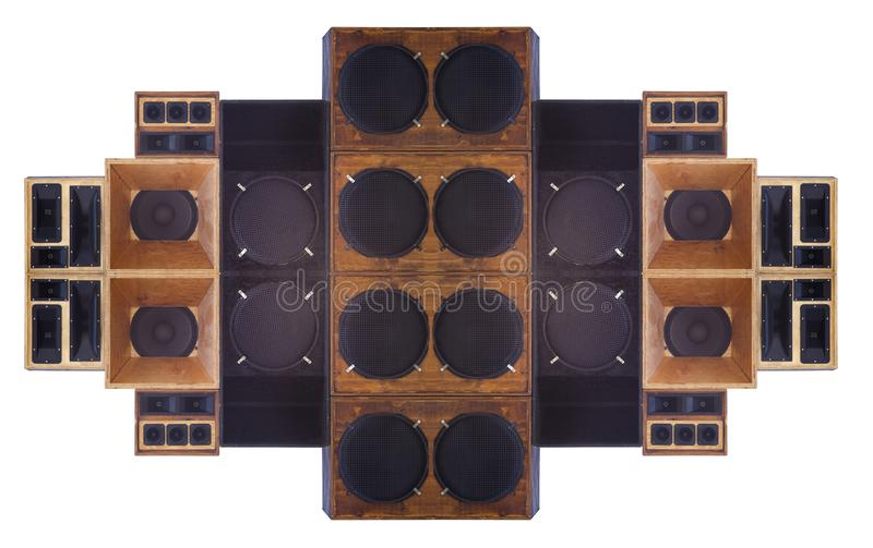 Big set of loudspeaker for a concert. Or music show studio royalty free stock photos