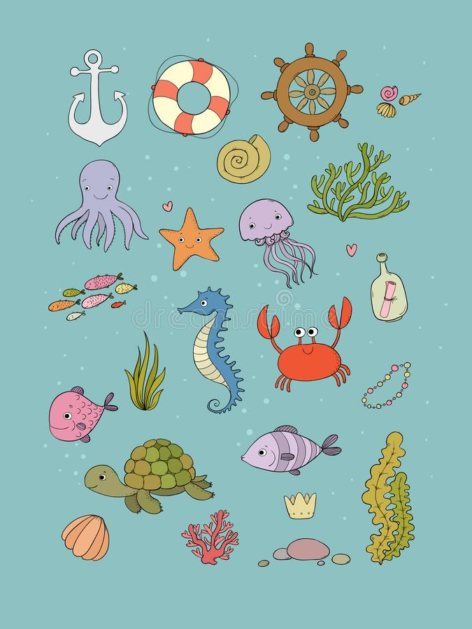 Big set of marine. Sea theme. Cute cartoon turtle starfish, funny fish, jellyfish and sea horse, seaweed and a bottle vector illustration