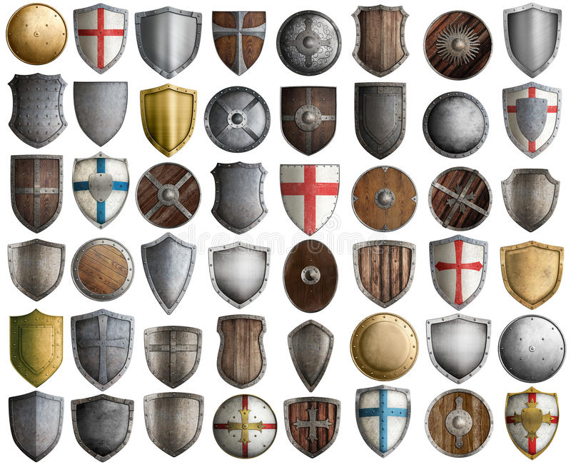 Big set of medieval knight shields isolated 3d illustration. Medieval knight shields big set 3d illustration isolated on white stock photo