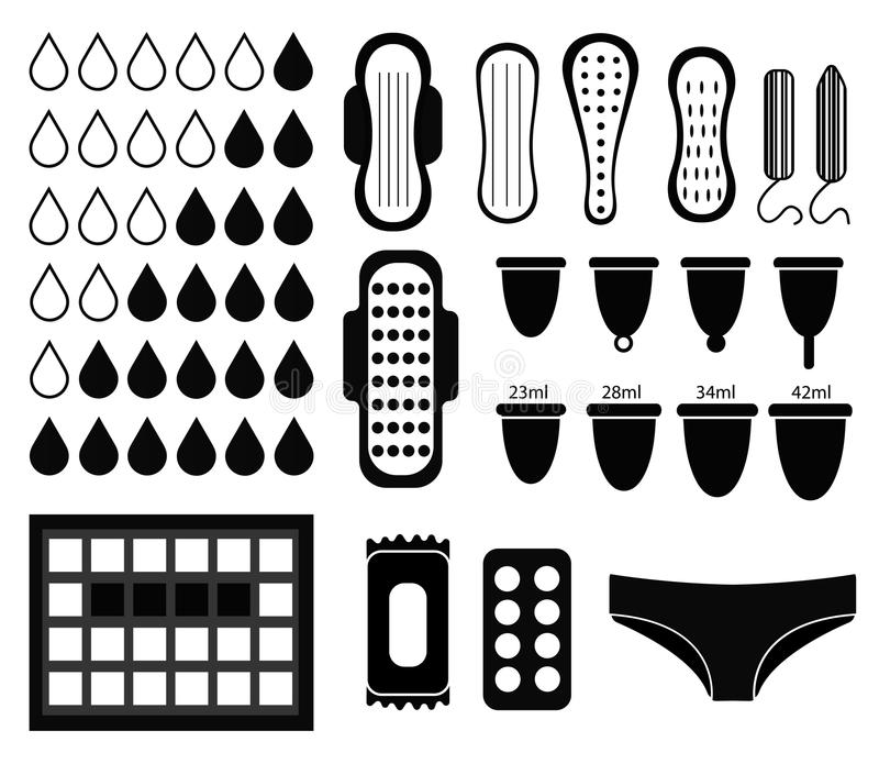 Big set for menstruation, feminine hygiene set. vector illustration