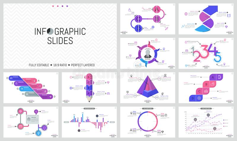 Big set of minimal infographic design templates. Graphs, workflow and bar charts, round and cutaway diagrams with royalty free illustration