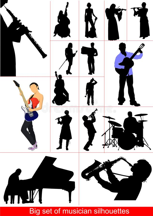 Big set of musicians silhouettes. , stock illustration