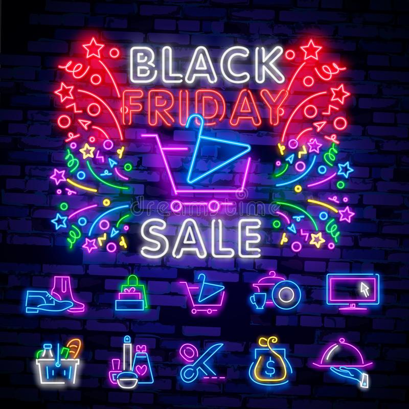 Big Set Neon Billboard, Theme Black Friday. Discount. Big