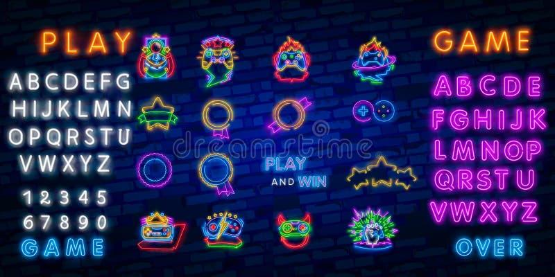 Big set neon sing. Game room label and logo. Gamer banner, logo, emblem and label. Bright signboard, light banner. Game logo. Big set neon sing. Game room label vector illustration