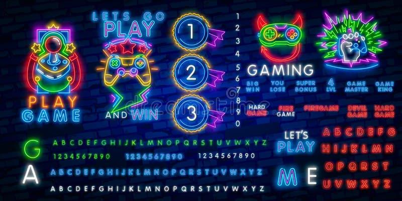 Big set neon sing. Game room label and logo. Gamer banner, logo, emblem and label. Bright signboard, light banner. Game logo. Big set neon sing. Game room label royalty free illustration
