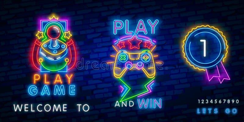 Big set neon sing. Game room label and logo. Gamer banner, logo, emblem and label. Bright signboard, light banner. Game logo. Big set neon sing. Game room label stock illustration