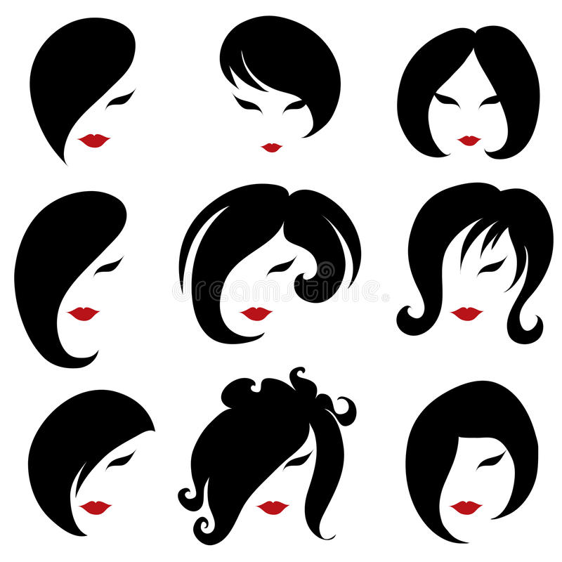 Free Big Set Of Black Hair Styling For Woman Royalty Free Stock Images - 21911639
