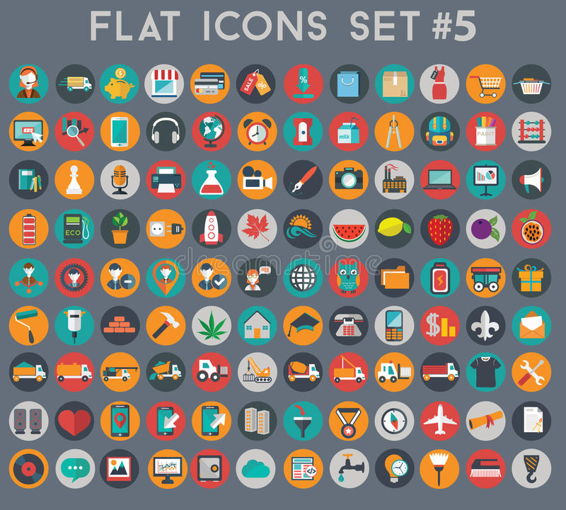Free Big Set Of Flat Vector Icons With Modern Colors Royalty Free Stock Images - 47898999