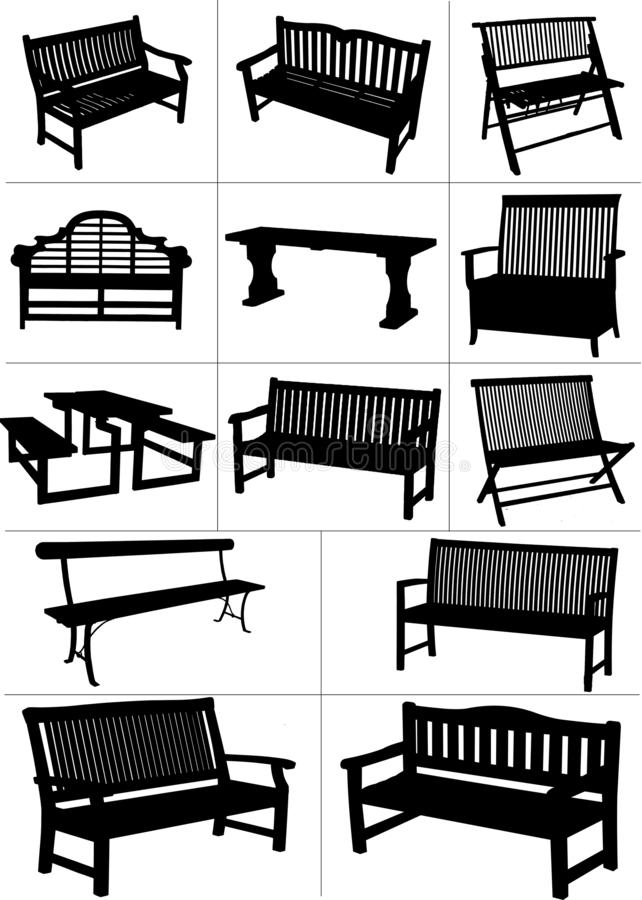 Free Big Set Of Garden Benches. Stock Photography - 151283102