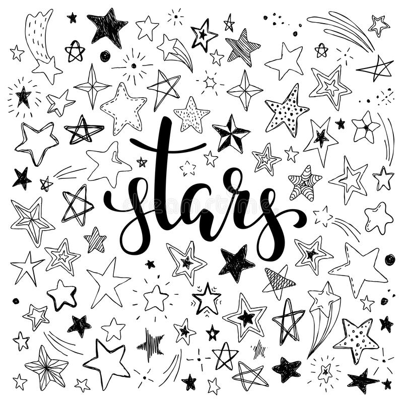 Free Big Set Of Hand Drawn Doodle Stars Black And White Isolated On Background. Hand Drawn Calligraphy Stars Lettering. Stock Photo - 110796540