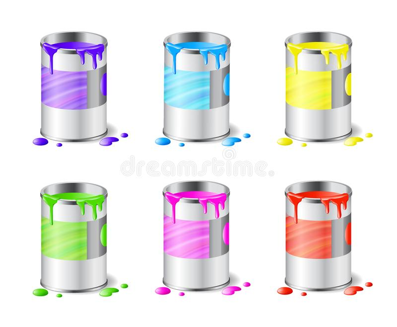 Big set of open metal paint cans with color paint and drops isolated on white. Background, interior design, art, renovation concept, vector illustration stock illustration