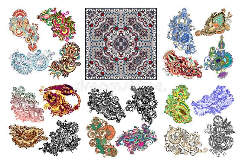 Big set of original hand draw line art ornate flower design. Kalamkari traditional style, vector illustration collection vector illustration
