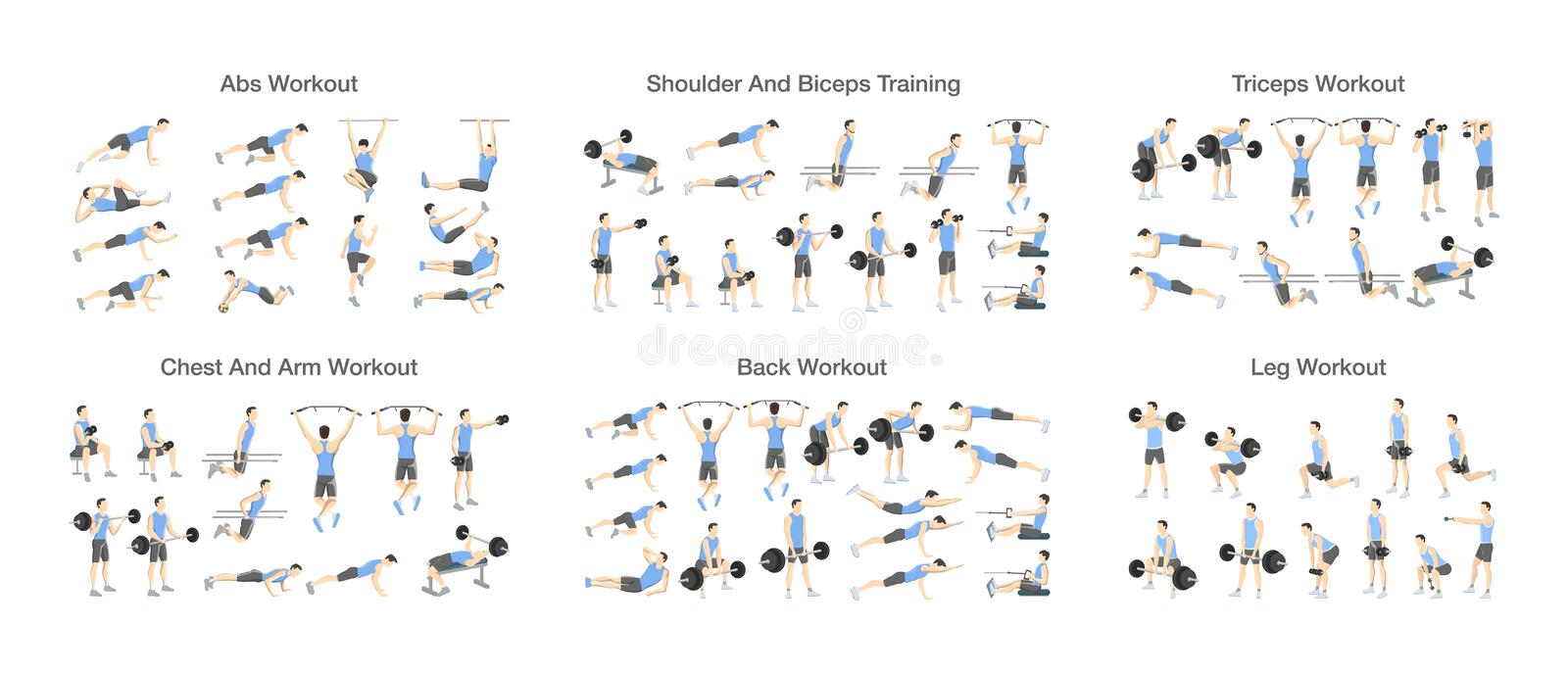 Big set of people doing exercises in the gym. Workout with dumbbell for different groups of muscles. Arm and training for men. Isolated flat vector royalty free illustration
