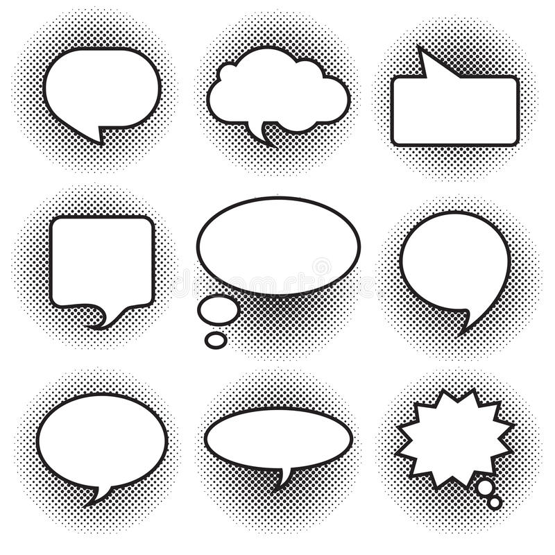 Big set picture blank template comic text speech chat bubble halftone dot background style pop art. Dialog empty cloud, space pop royalty free illustration
