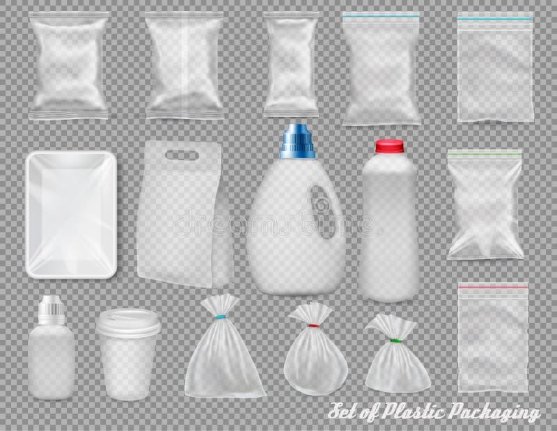 Big set of polypropylene plastic packaging vector illustration