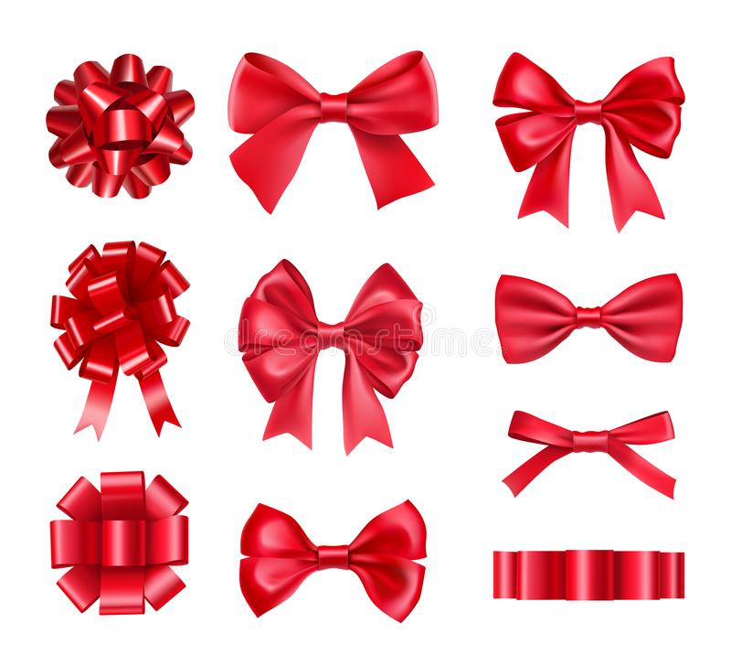 Big set of red gift bows with ribbons stock illustration