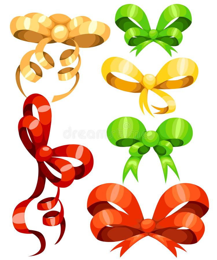 Big set of red gift bows with ribbons Vector illustration Web site page and mobile app design vector illustration
