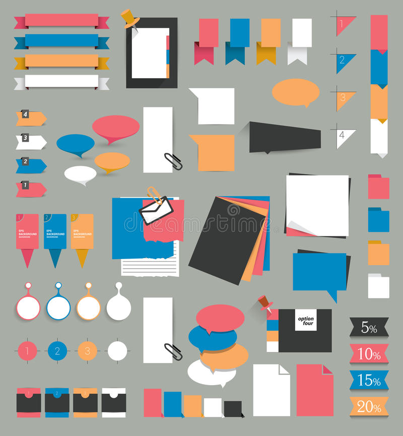 Big set of reminder stickers. Infographic set. vector illustration