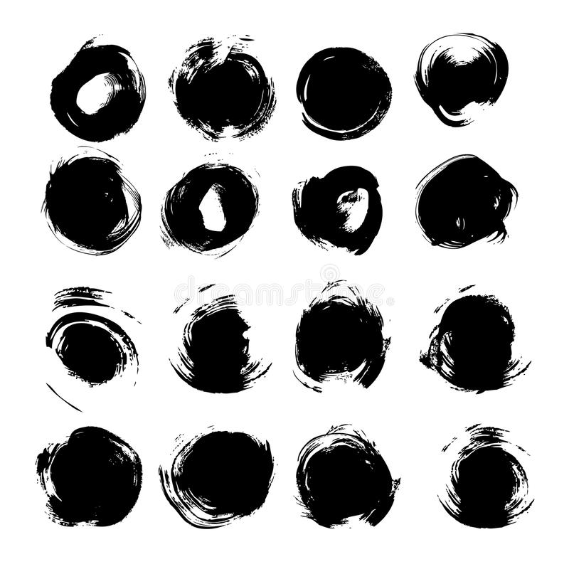 Big set of round abstract backgrounds smears vector objects royalty free illustration