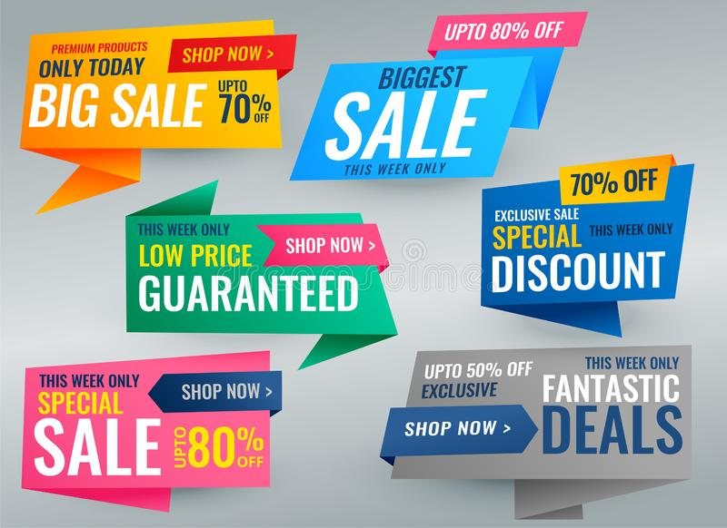 Big set of sale promotional banner and tags vector illustration