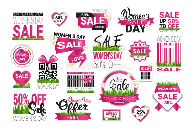 Big Set Of Sale Stickers For International Womens Day Special Offer Signs Template Badges Promotion Isolated. Vector Illustration vector illustration