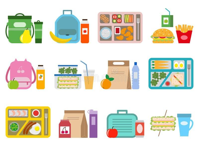 Big set of school lunch boxes for children. vector illustration