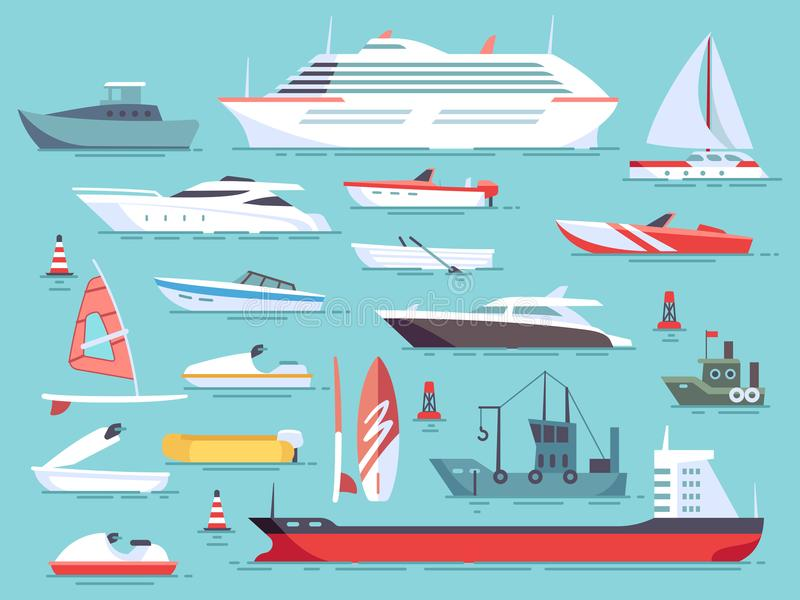 Big set of sea boats and little fishing ships. Sailboats flat vector icons royalty free illustration