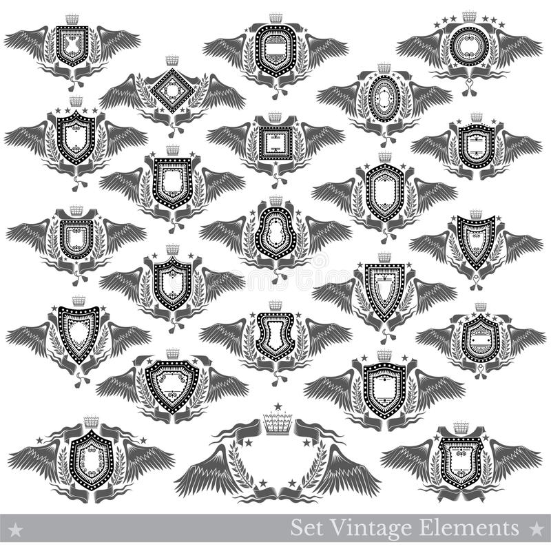 Big set of shields different forms with wings, wreath and vintage element. Vector heraldic design stock illustration