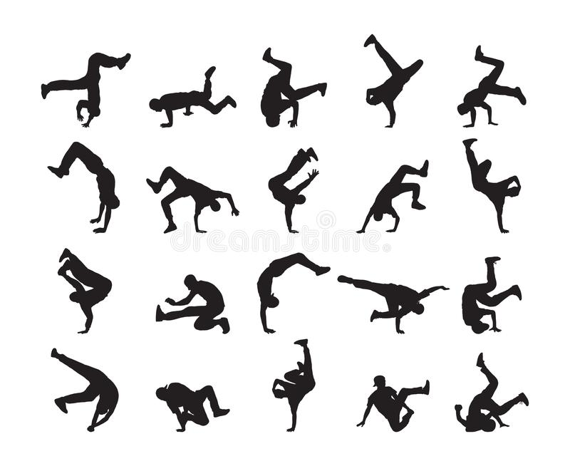 Big set of Silhouette of expressive break dance. Young people dancing of Hip Hop on white background stock illustration