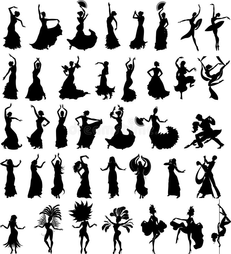 Big set of silhouettes of dancers. On white background vector illustration