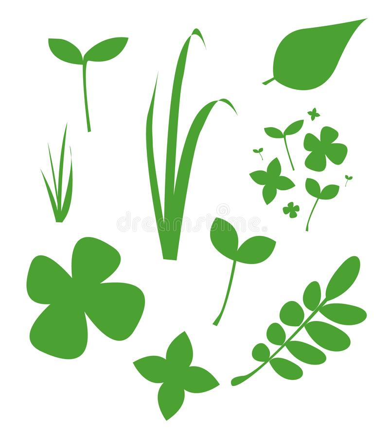 Simple nice set  illustration of fresh green grass, leaf, minimalism. Can be used for postcards, flyers and posters. Garden el stock illustration