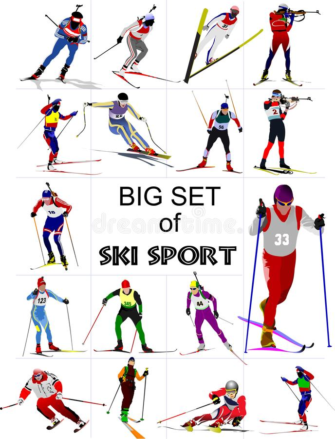 Big set of Ski sport colored silhouettes., royalty free illustration