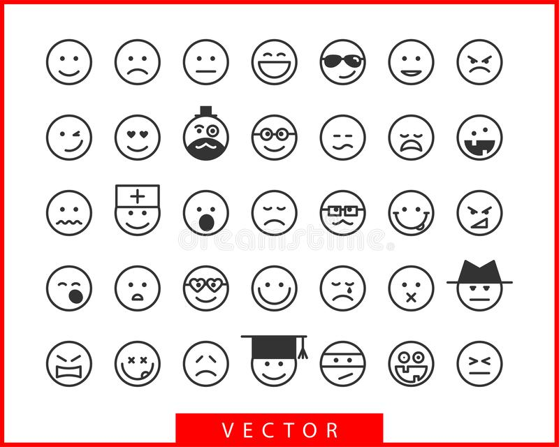 Big set smiles faces. Collection smile icon vector symbol. Smiley face cartoon character vector illustration