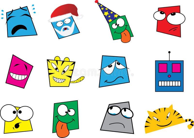 Big set smiling icons