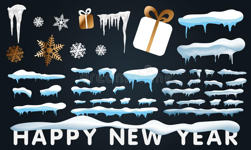 2020 Big set of snow icicles and snow cap isolated. Cartoon snowy elements over winter background. 2020 Christmas, snow texture, vector illustration